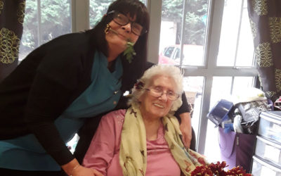 Flower arranging at Hengist Field Care Home