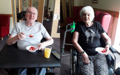 Tennis with strawberries at Hengist Field Care Home