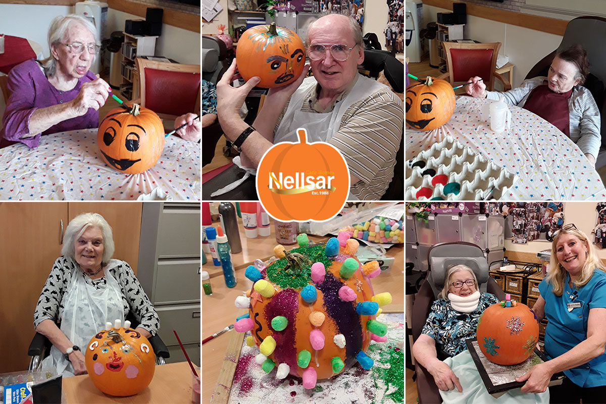Hengist Field Care Home residents paint perfect pumpkins
