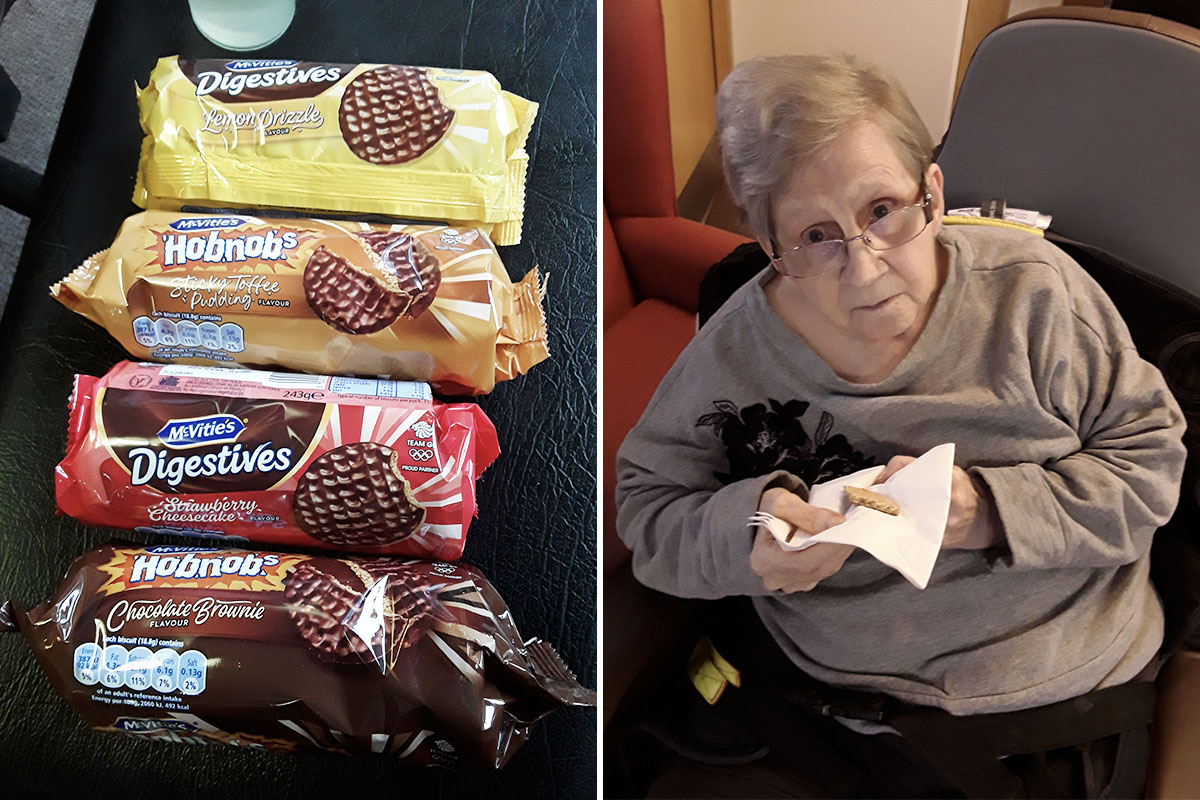 Hengist Field Care Home residents in biscuit tasting heaven