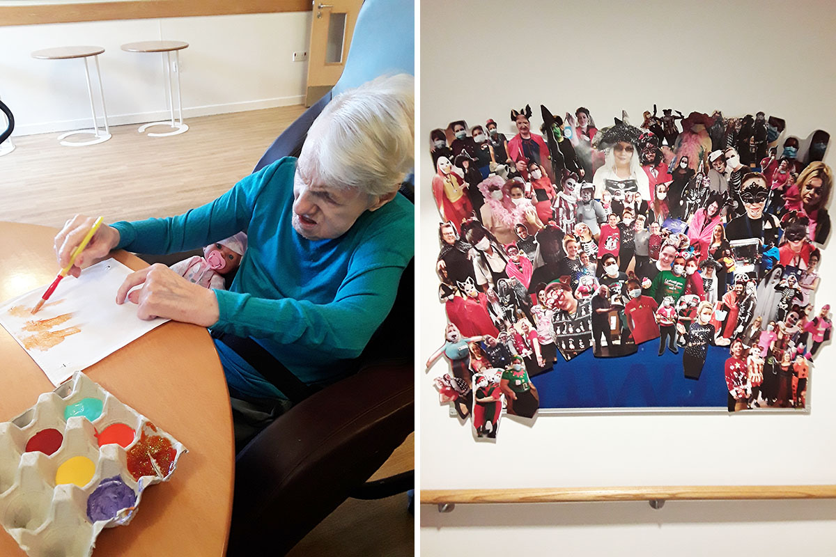 Fabric painting and a new picture board at Hengist Field Care Home