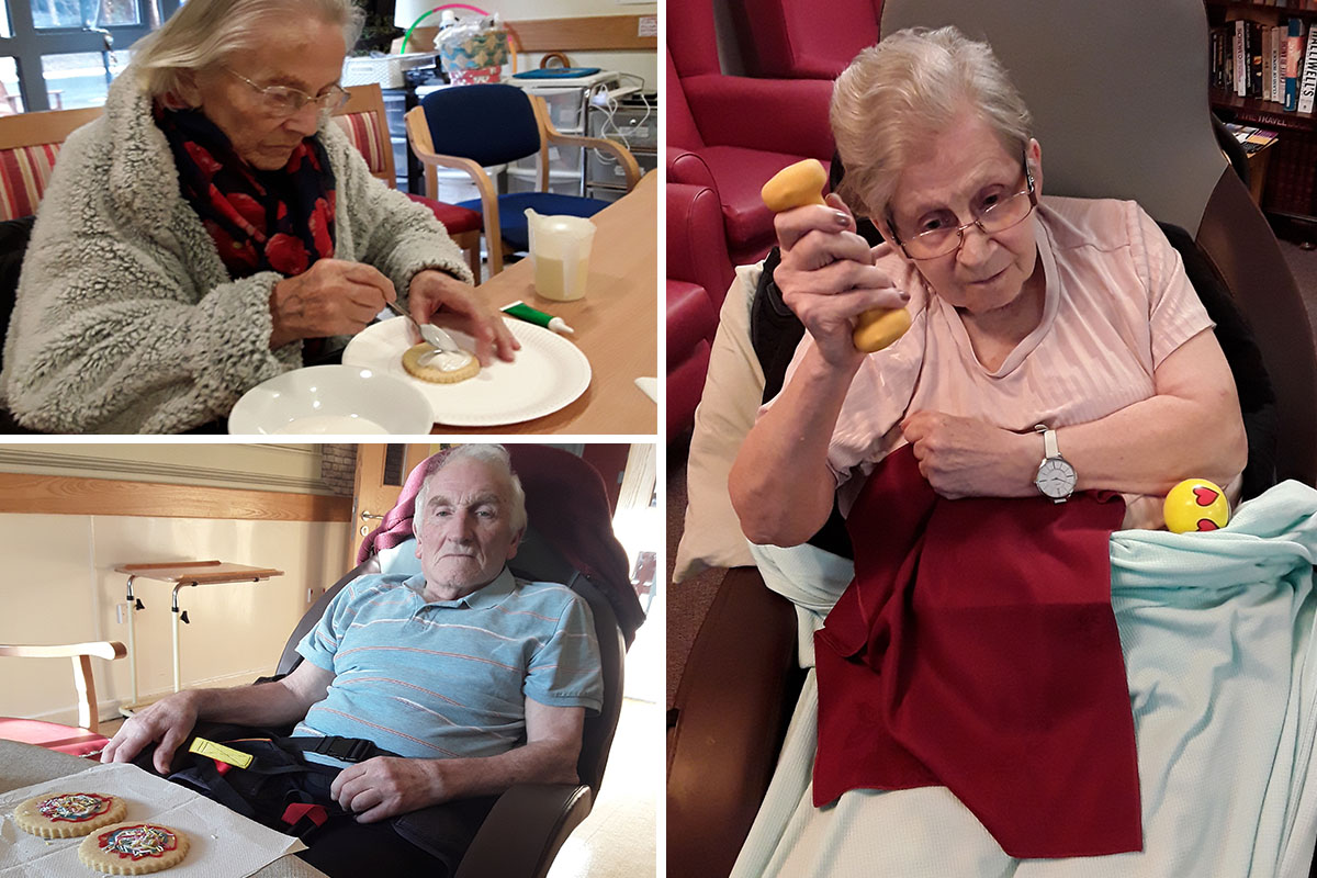 Decorating cookies and armchair exercises at Hengist Field Care Home