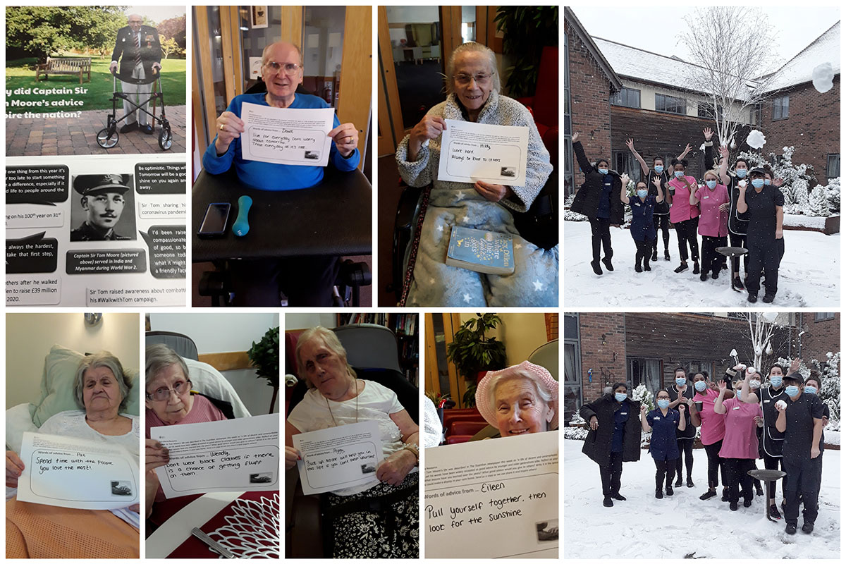 Remembering Sir Tom and enjoying the snow at Hengist Field Care Home