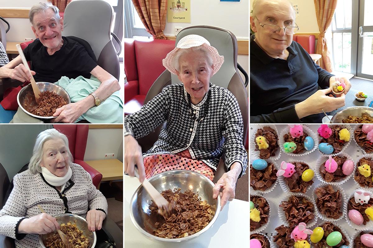 Hengist Field Care Home residents enjoy making Easter cakes