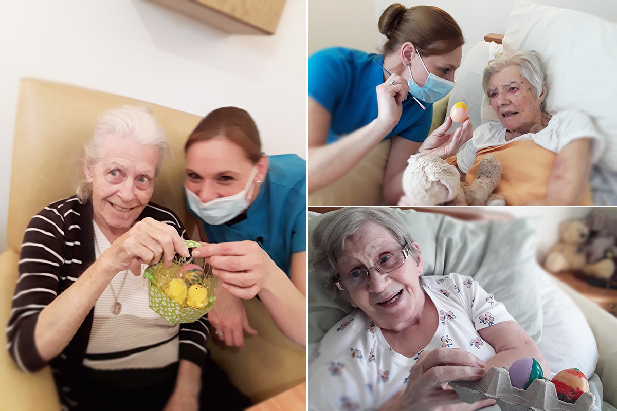Making Easter baskets at Hengist Field Care Home