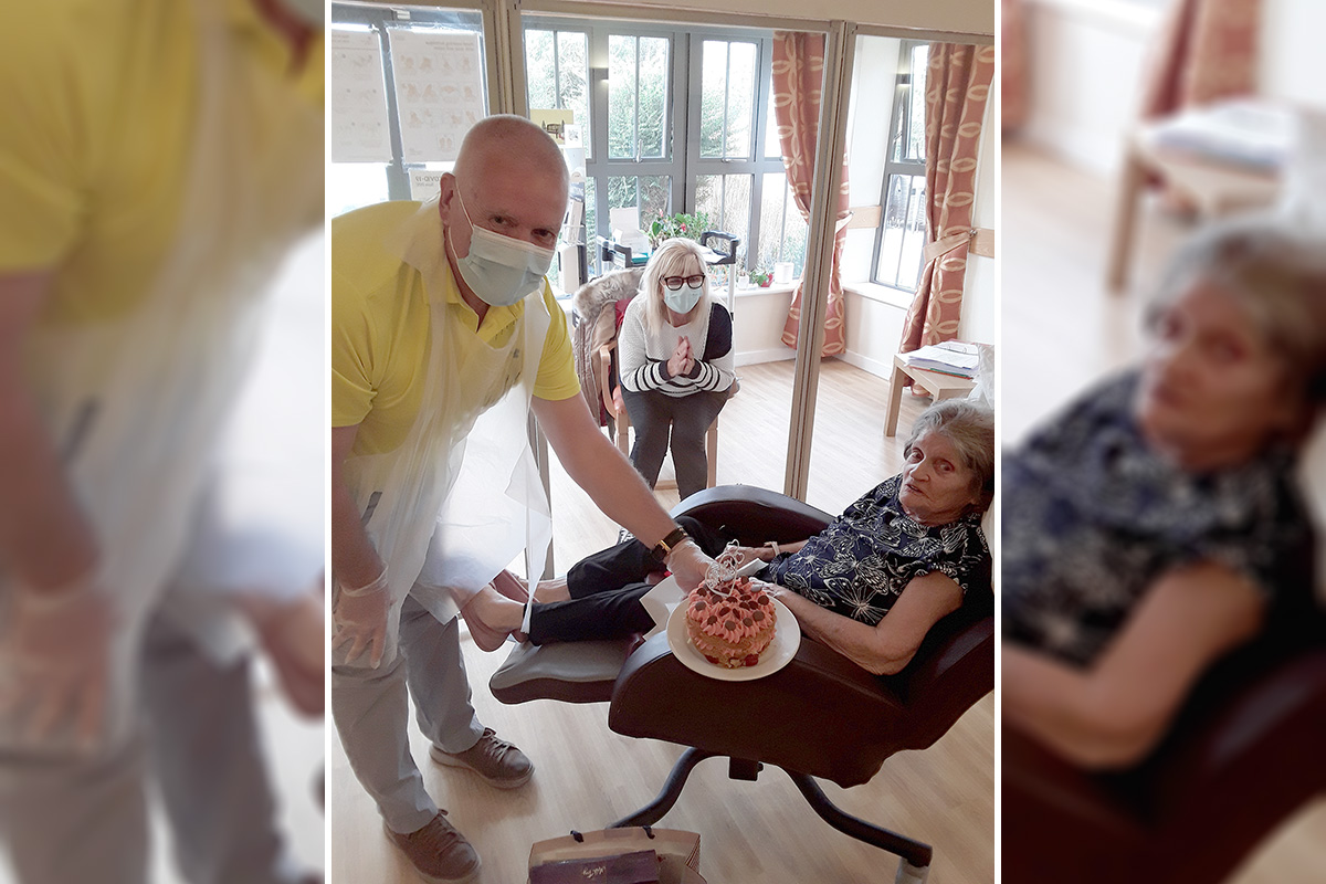 Birthday celebrations for Mary at Hengist Field Care Home