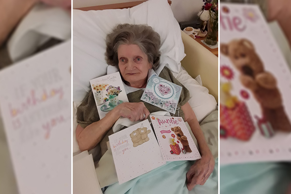Happy birthday to Mary at Hengist Field Care Home