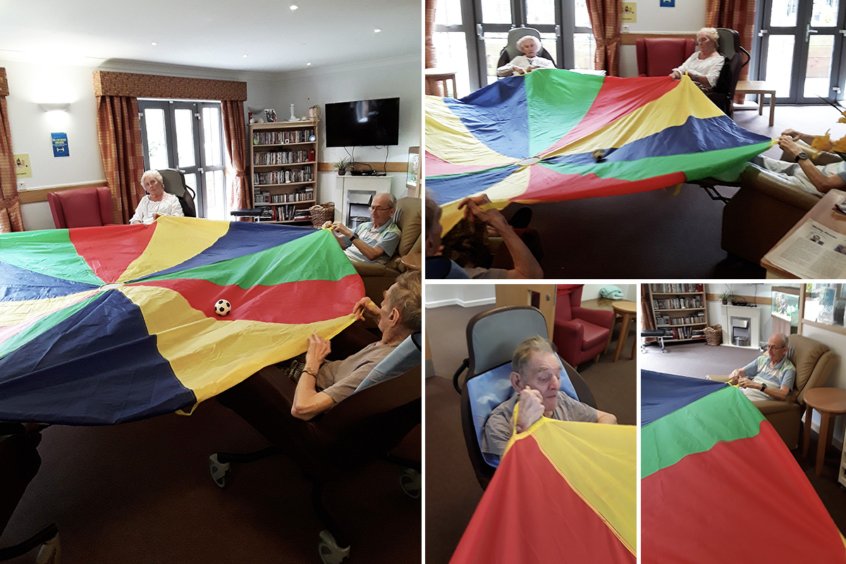 Hengist Field Care Home residents perfect their parachute skills