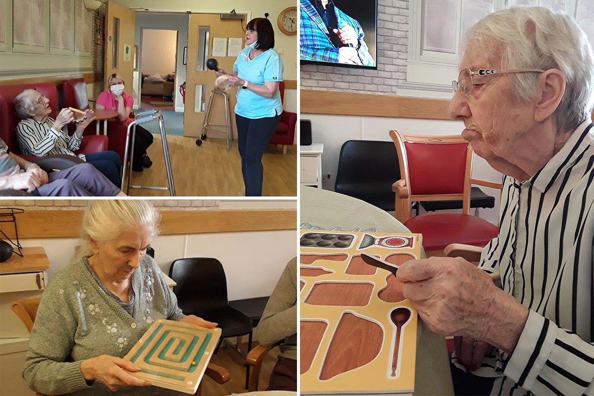 Hengist Field Care Home residents enjoy puzzle games and singing