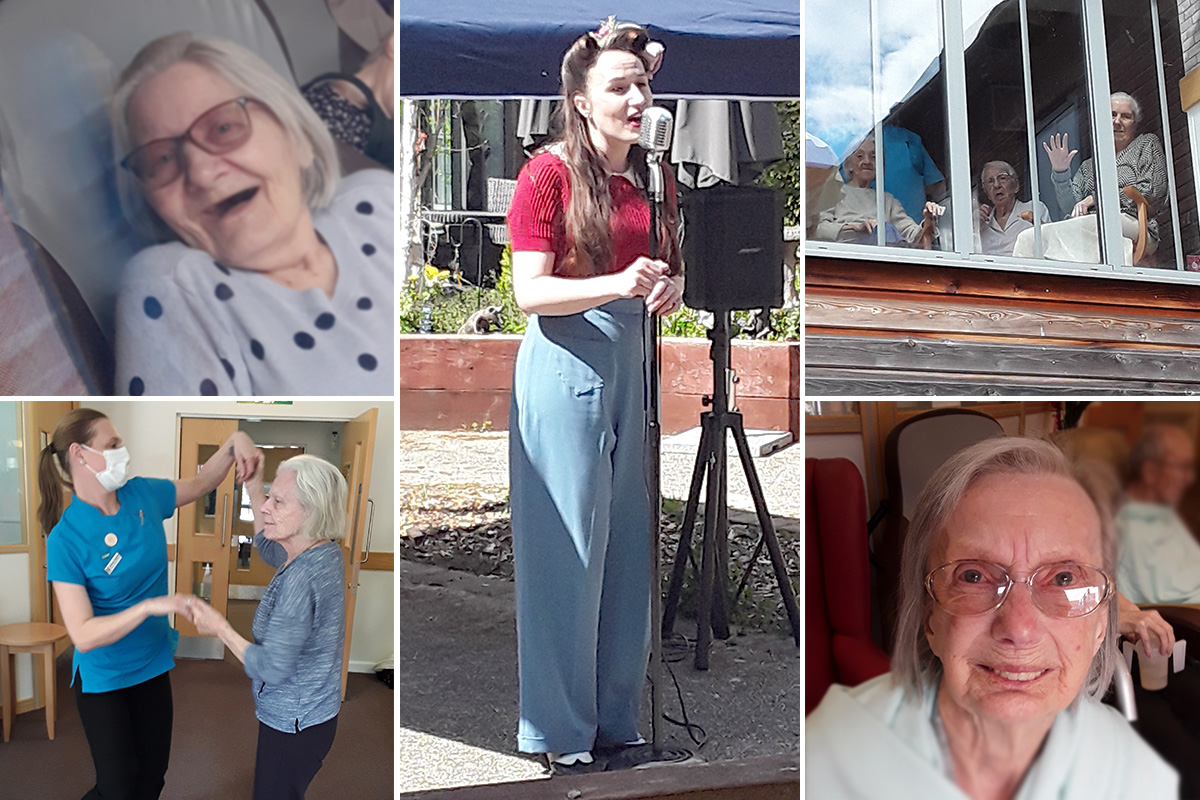 Hengist Field Care Home residents enjoy music from Miss Holiday Swing