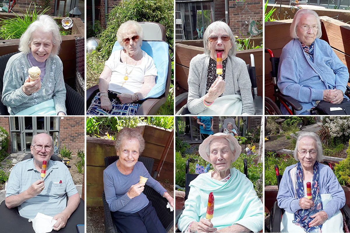 Enjoying the sun with ice cream and lollies at Hengist Field Care Home